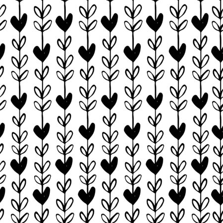 simple: Vector simple seamless hand drawn pattern of hearts.