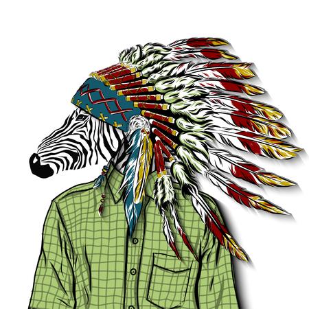 Hand Drawn Fashion Illustration of dressed up zebra, in colors. Vector Illustration