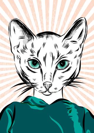 anthropomorphism: cat girl dressed up in sport wear animal illustration.
