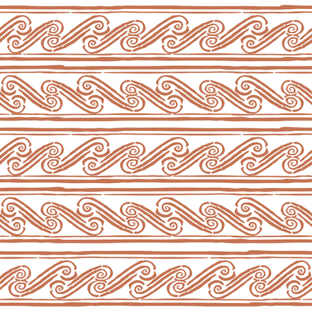 grecian: Seamless monochrome hand drawn Greek pattern on background. Design for paper packaging or wrapping. Vector illustration. EPS