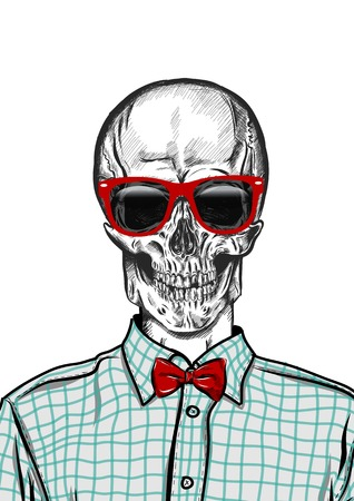 scetch: hand drawn anatomy skull with different tones and sunglasses. Vector EPS