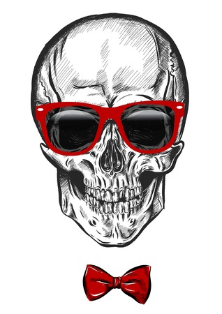 hand drawn anatomy skull with different tones and sunglasses. Vector