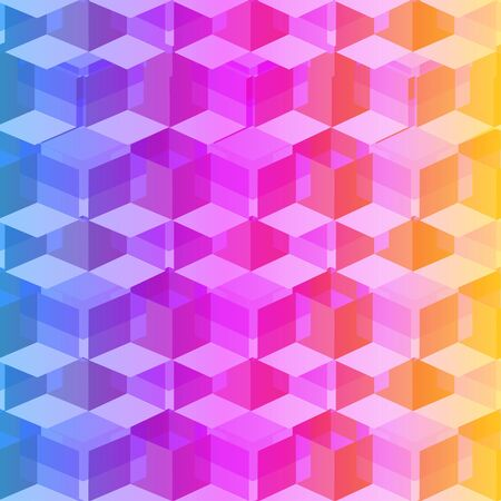 Isometric cubes seamlessly repeatable pattern. 3D background. Vector Illustration