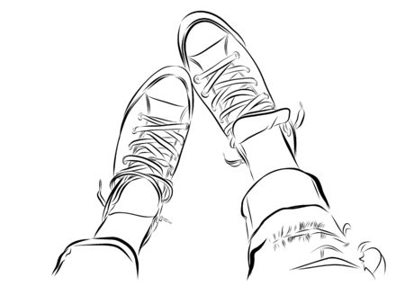 vector hand drawn sketch gym shoes.