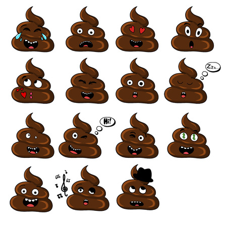 set of shit emoticon smileys isolated on white background.