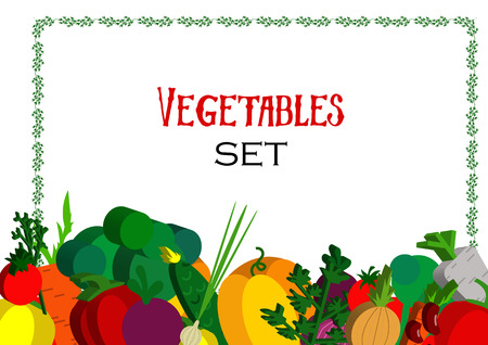 fruitage: Paper vegetables flat style set on a background.