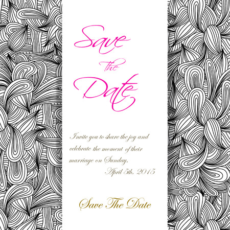 scetch: Hand drawn monochrome doodles pattern invitation. Scetch of background with abstract shapes illustration.