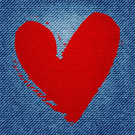 blue jean texture background with red heart
