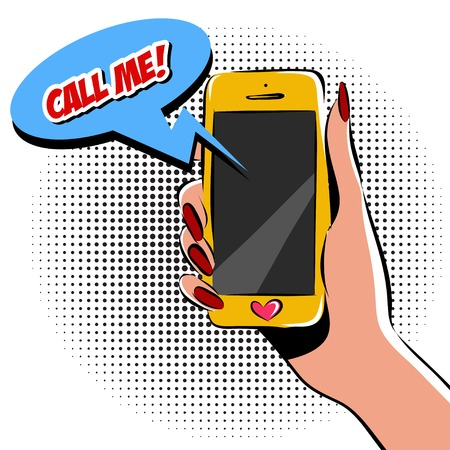 Main féminine avec illustration pop art de téléphone. Imitation de style bande dessinée. Banque d'images - 62192655