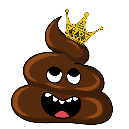 unpleasant: Vector image of brown Shit with crown. Cartoon stration EPS