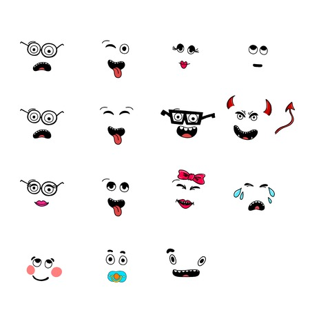 smileys: set of fun emoticon smileys isolated on white background. Illustration