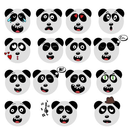child tongue: set of fun emoticon panda mileys isolated on white background. Illustration