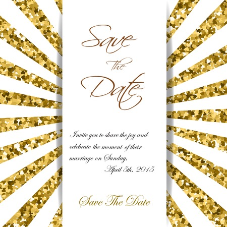 ps: Cute cards with gold Confetti glitter. Perfect for valentines day, birthday, save the date invitation. Vector rays PS