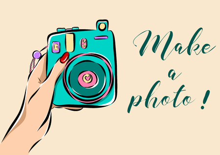adult birthday party: Illustration of a hand holding a photo camera.