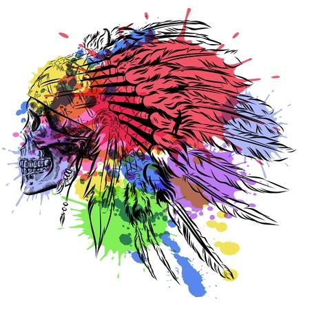 인간의 두개골와 네이티브 아메리칸 인디언 깃털 머리 장식. 수채화 그림 일러스트