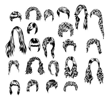 다른 여자의 머리 스타일 손으로 그려진 된 집합입니다. 스톡 콘텐츠 - 64686813