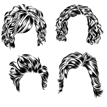 black wigs: Hand drawn set of different women s hair styles.