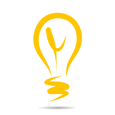 Light bulb icon, idea symbol sketch in. Hand-drawn doodle sign. Illustration