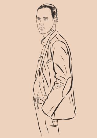 Vintage Hand Drawn Gentleman. Men s clothing. Retro Illustration style. Vector EPS 10 Illustration