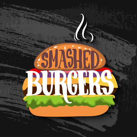 sandwich board: Classic burger with lettering on chalk board. Vector EPS