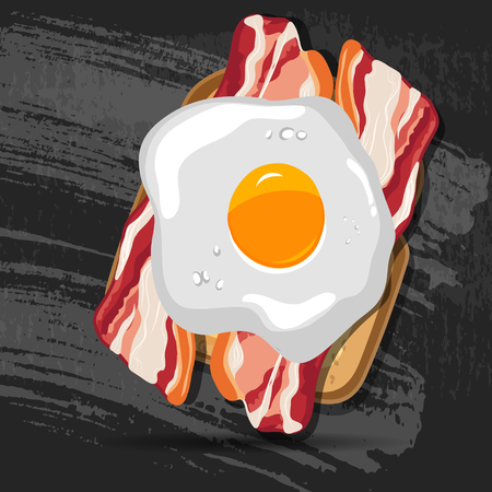 toasted sandwich: Vector breakfast bread toast with fried egg and bacon. Good morning vector concept. EPS