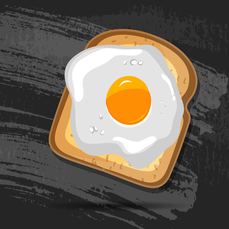 toasted bread: Vector breakfast bread toast with fried egg. Good morning vector concept. EPS