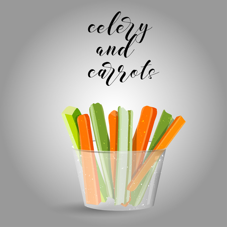 celery and carrots sticks. Raw food. Vector illustration. EPS