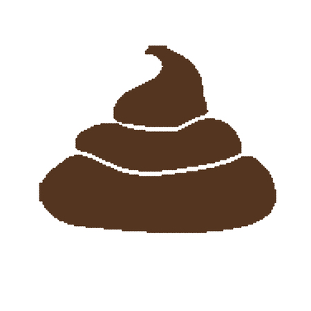 Pixel art style pile of brown shit isolated vector illustration