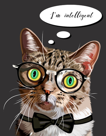 Hand drawn portrait of Cat with glasses and bow tie. Vector Illustration