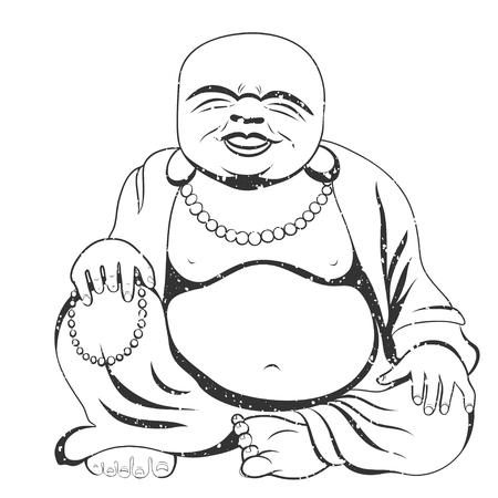 Laughing Buddha or Hotei sitting. Vector illustration. Vettoriali