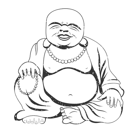 Laughing Buddha or Hotei sitting. Vector illustration. 矢量图像