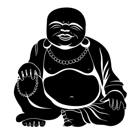 Laughing Buddha or Hotei sitting. Vector illustration. Иллюстрация