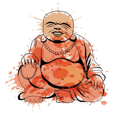 Laughing Buddha or Hotei sitting. Vector illustration. Illustration