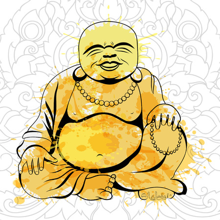 Laughing Buddha or Hotei sitting. Vector illustration. Illustration