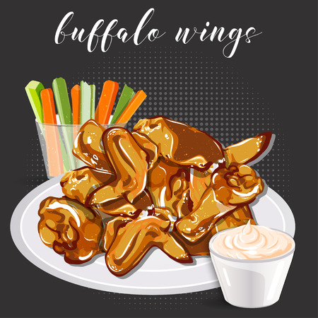 Buffalo wings, celery with carrot and blue cheese in a bowl.