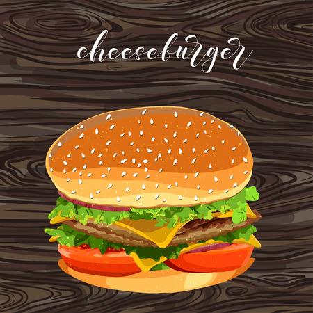 vector cheeseburger fast food.