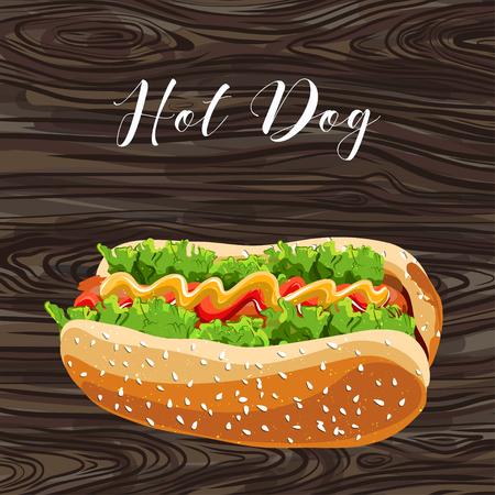 Hot Dog mit grünem Salat und Wurst auf den Hintergrund. Vektor.
