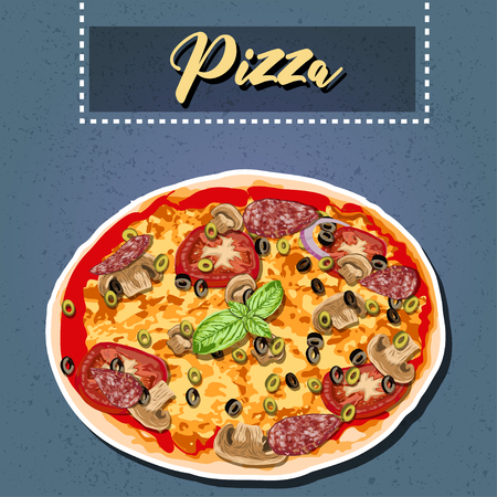 Hand drawn vector illustration of a Pepperoni Pizza. Illustration