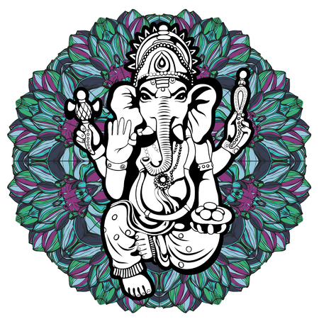 dharma: Lord Ganesha sketch on a background. Vector