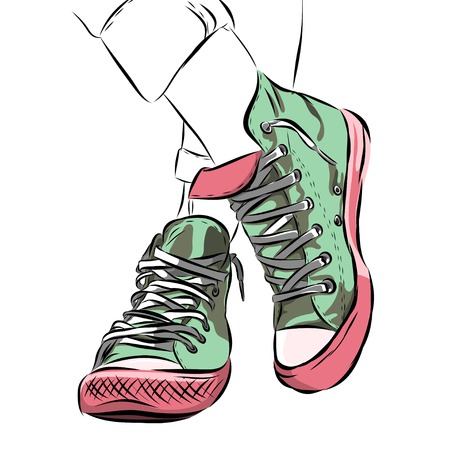 mint colour sports shoes scetch on background. Vector