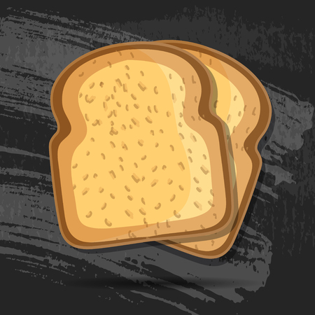 toasted: Vector toast isolated on black chalk board. bread illustration. Realistic slice . breakfast concept. icon .