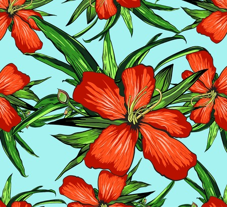 열 대 꽃 배경 - 빈티지 연속 패턴 - 벡터에서. 일러스트