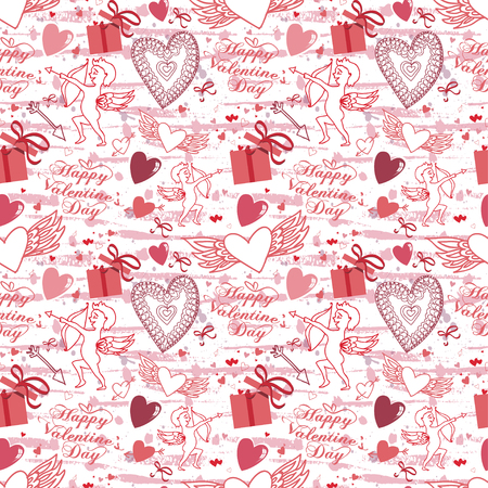 Valentine seamless pattern with hearts and Cupid. Perfect for wallpaper, textile, greeting cards and wedding invitations Illusztráció