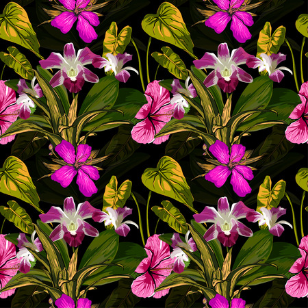 scrap book: Tropical Flowers on Background - Vintage Seamless Pattern.