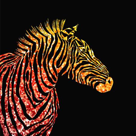 Animal illustration of vector zebra silhouette with golden sparkley elements. Illustration