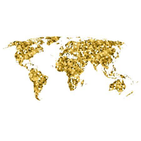 World map of gold glittering stars . Golden Modern element for info graphics. vector Illustration