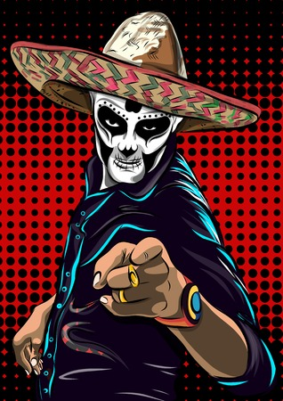 Day of the dead sugar skull man vector. Mexican skull. Dia de los muertos. EPS10 illustration.