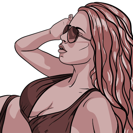 hot girl legs: Sexy young woman in swimsuit. Vector illustration Illustration