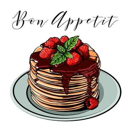 Vector pancake. Breakfast. Cafes. Berries. Raspberry. Blueberries. Mint. Vintage.Vintage. Signboard. chocolate.