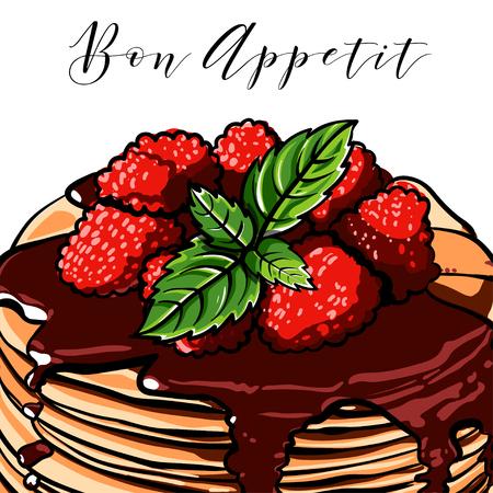 Vector pancake. Breakfast. Cafes. Berries. Raspberry. Blueberries. Mint. Vintage.Vintage. Signboard. chocolate Illustration